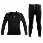 WOLFBIKE Men's Elastic Warm Long-sleeved Dacron Cycling Jersey + Long Pants Suit - Black (Size XL)