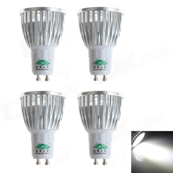 Zweihnder W090 GU10 5W LED Spotlights Cold Hvit (110 ~ 240V / 4PCS)