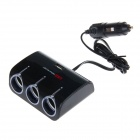 WF-073 1-to-3 Car Cigarette Lighter Adapter USB - Black (DC 12V-24V)
