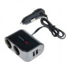 WF-069 2.1A 1-to-2 Car Cigarette Lighter Socket Power Adapter w/ Dual USB Output - Black