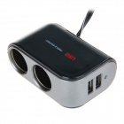 WF-069 2.1A 1-to-2 Car Cigarette Lighter Adapter Dual USB - Black