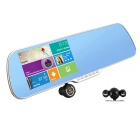 "5"" HD 1080P Android Car DVR Camcorder w/ Rearview Mirror / GPS / FM / Wi-Fi / 8GB - Black"