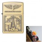 Eiffel Tower Pattern Windproof USB Electronic Cigarette Lighter w/ Toothed Rotary Switch - Bronze