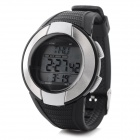 "Men's 1.1"" Screen Digital Sports Watch w/ Calorie / Heart Rate Monitor - Black + Silver (1 x CR2032)"