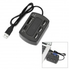 USB 2.0 3-Port USB Hub + SD / TF / MS / MMC Card Reader - Black