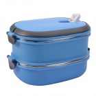 NEJE CZ0001-2 2-Layer Stainless Steel Insulated Box Lunchbox w/ Handle - Blue