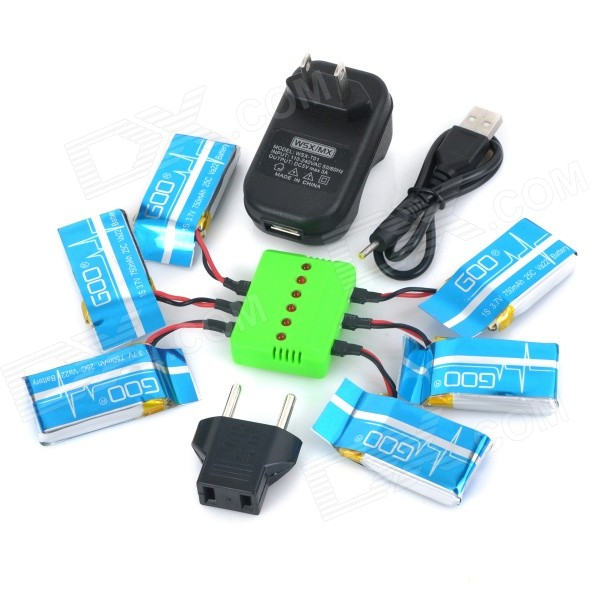 WSX-X6A 750mAh Li-polymer Batteries + Charger + Adapter + Cable - Blue