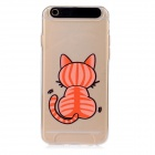 Cat Pattern Protective TPU + PC Back Case w/ LED for IPHONE 6 - Transparent + Black
