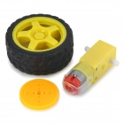 DIY TT Biaxial Motor + Pulley + Roda Set for Model Car - Red + Yellow