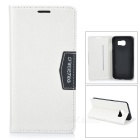 Protective Flip-Open PU + TPU Case Cover w/ Stand & Card Slots for Samsung Galaxy S6 - White + Black