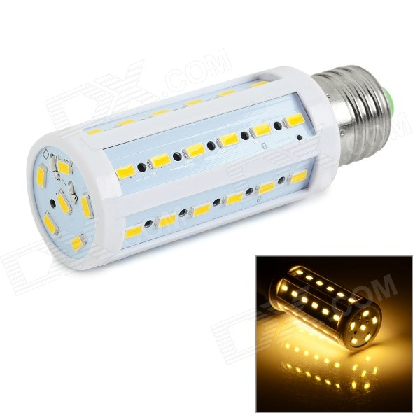 E27 9W 3000K 810lm 42-SMD 5730 Warm White Lamp (85~265V)E27<br>Form  ColorWhite + Yellow + Multi-ColoredColor BINWarm WhiteModelCLX57-42-4MaterialPlastic + aluminumQuantity1 DX.PCM.Model.AttributeModel.UnitPower9WRated VoltageAC 85-265 DX.PCM.Model.AttributeModel.UnitConnector TypeE27Chip BrandOthers,N/AEmitter TypeOthers,5730 SMD LEDTotal Emitters42Theoretical Lumens900 DX.PCM.Model.AttributeModel.UnitActual Lumens810~900 DX.PCM.Model.AttributeModel.UnitColor Temperature3000KDimmableNoBeam Angle360 DX.PCM.Model.AttributeModel.UnitPacking List1 x Corn lamp<br>