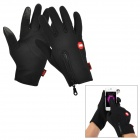 NatureHike Outdoor Sports Windproof Warm Touch Full-Finger Gloves - Black (M / Pair)