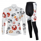 MOON CX-001 Men's Patterned Long Cycling Jersey + Padded Pants Set - White + Multicolored (XL)