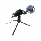 SF-922 Desktop Microphone w/ 3.5mm Jack / Tripod for Laptop / PC - Black + Silver (170cm-Cable)