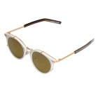 S973 Fashionable UV400 Protection PC Lens Sunglasses w/ Metal Fasteners - White + Golden