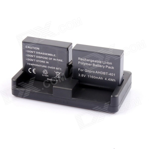 PANNOVO GP55 1160mAh 401 Batteries + Battery Charger for GoPro - Black