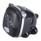 Aoluguya G8 Portable Stereo Mini Cartoon Speaker w/ FM / TF / USB / 3.5mm - Black