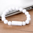 Magnetic Bracelet Style Micro 5-Pin Data Charging Cable - White (24cm)