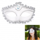 Stylish Paillette Embroider Diamonte Ball Mask for Party - White