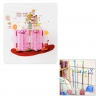 Adjustable Suction-Cup Wall Mount Holder Hanger for Mop / Umbrella / Broom - Pink + Translucent