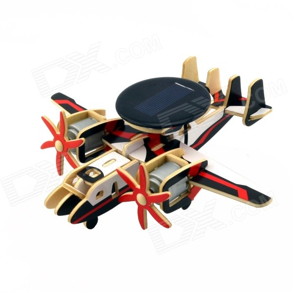 Solar Powered Assembly Early-Warning Plane Aircraft Toy - Black + Red