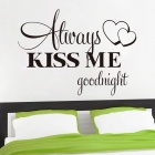 Always Kiss Me Words Pattern PVC Wall Sticker Decal - Black