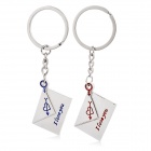 Creative Envelope Design Zinc Alloy Key Ring Keychain for Lovers & Couples - Silver (Pair)