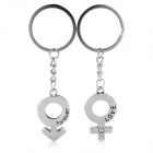 Creative Zinc Alloy Couple Keyrings Set - Silver