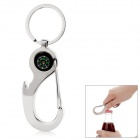 Creative Zinc Alloy Key Ring Keychain w/ Compass & Carabiner & Bottle Opener - Silver