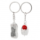 SL-519 Creative Mouse / Keyboard Style Pendant Keychains - Silver (2 PCS)