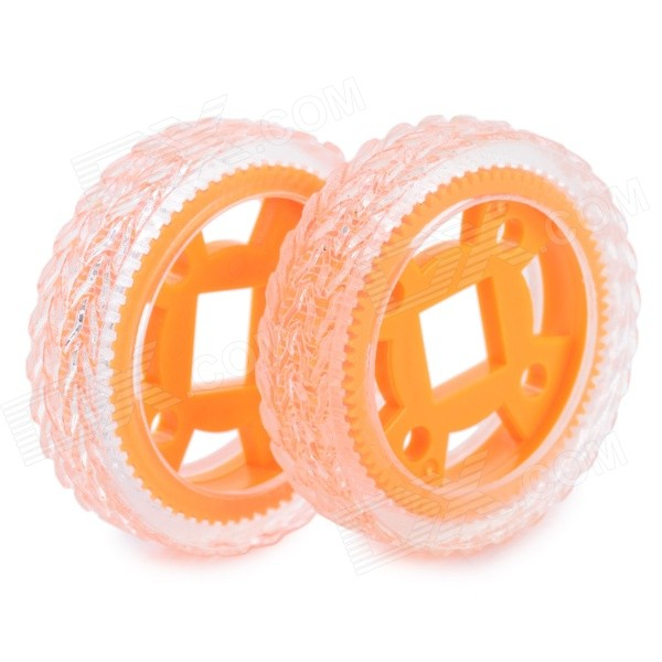 DIY 47mm Rubber Tyres for R/C Car - Orange + Transparent (2PCS)