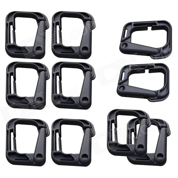 WB-D0313 Sports D-Shaped D-Ring Locking Carabiners - Black (10PCS)
