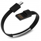 Micro USB 2.0 Data Sync Charging Wrist Bracelet Style Cable - Black (22cm)