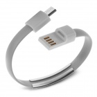 Colorful Micro USB 2.0 Data Sync Charger Wrist Bracelet Cable - Grey (22cm)