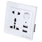 AC Power Socket & Switch Control & Dual-USB Socket Wall Panel - White (US & UK Plug)