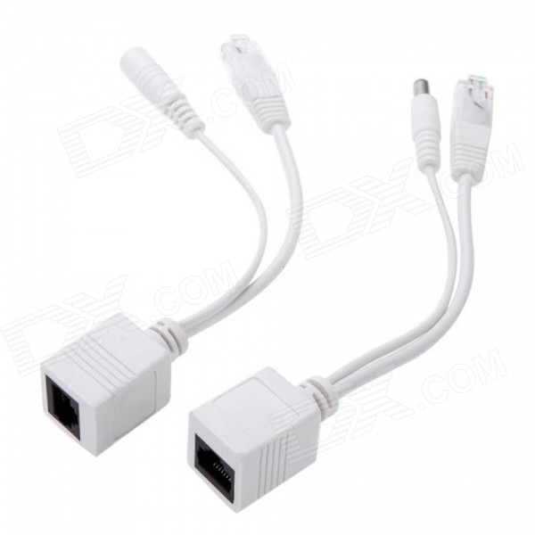 Ethernet PoE Adapter Injector + Splitter Kit - White