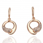 Women`s Gold Plated Alloy Crystal  Earrings - Rose Gold