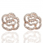 Fashion Ladies Flower Shaped Platinum Plated Rhinestones Decorated Earrings - Rose Golden (Pair)