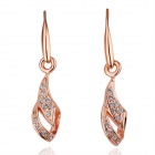 Women's Crystal Gold-plated Pendant Earrings - Rose Gold (Pair)