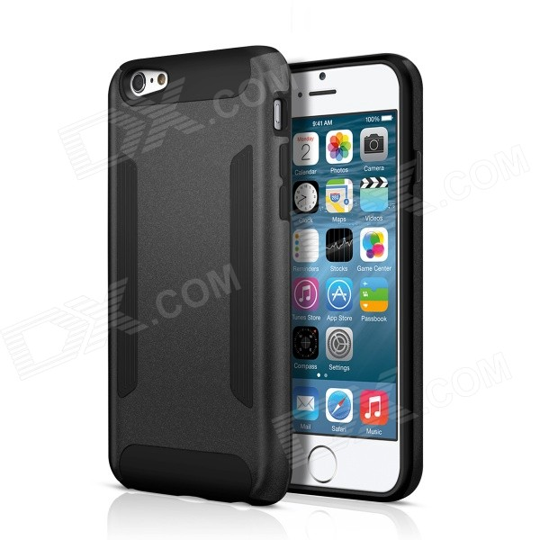 FHI6-B Hard PC + TPU Back Case w/ Non-Slip Strip for IPHONE 6 - Black