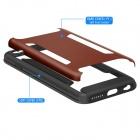 FHI6-B Hard Back Case w/ Non-Slip Strip for IPHONE 6 - Black + Brown
