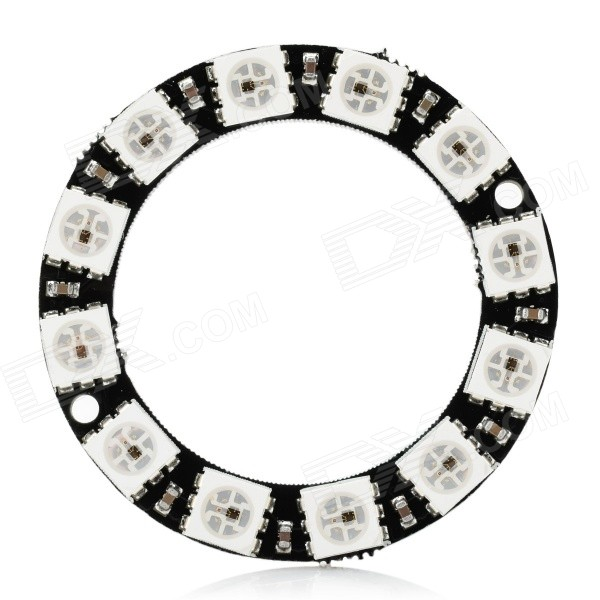WS2812 5050 RGB 12-LED Round Lamp Development Board - Black