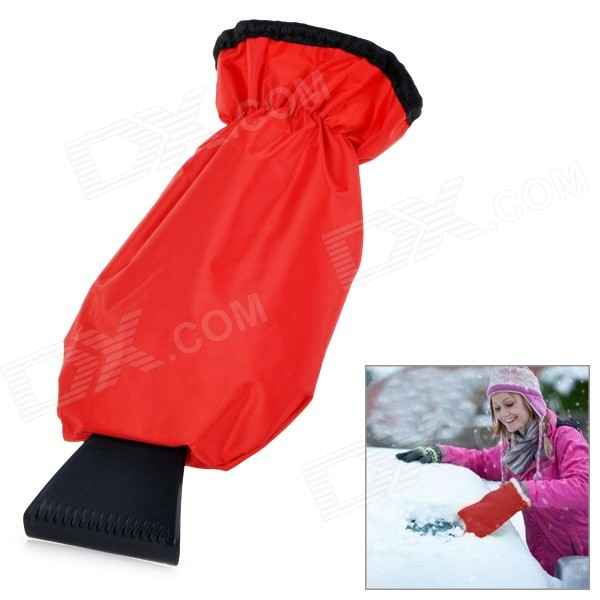 Water-resistant Car Ice Scraper Snow Shovel w/ Warm Glove - Red