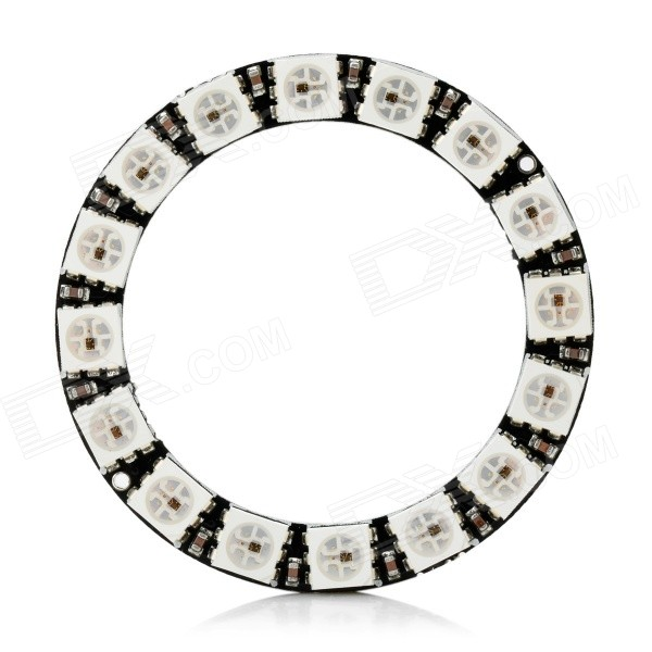 WS2812 5050 RGB 16-LED Round Lamp Development Board - Black