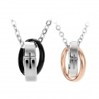 GX865 Cross Embedded Pattern Couple Titanium Steel Necklace Set - Black + Rose Golden