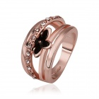 Women's Fashionable Flower Style Rhinestone Studded Gold Plated Finger Ring  - Rose Gold (US Size 8)