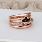 LKN18KRGPR539-8 Women's Flower Rhinestone Ring - Rose Gold (US Size 8)