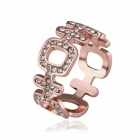 Frauen Lucky Chinese Character Shaped Vergoldete Strass besetzte Ring - Rose Gold (US-Größe 8)