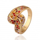 Gold Plated Rhinestone Finger Ring - Golden + Multi-Colored (US Size 8)