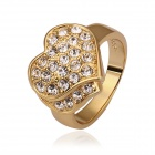 Women's Heart-shaped Rhinestone-studded Gold-plated Finger Ring - Golden (US Size 8)